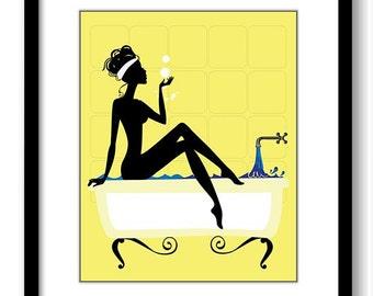 Yellow Bathroom Decor Bathroom Print Silhouette Girl Bathtub Tub Bathroom Art Prints Wall Decor Modern Minimalist