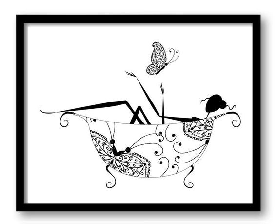black and white artwork for bathroom black white bathroom decor bathroom print silhouette butterfly 25097 | il 570xN.734784000 22fi
