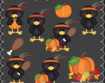Thanksgiving Indian Crows Clipart