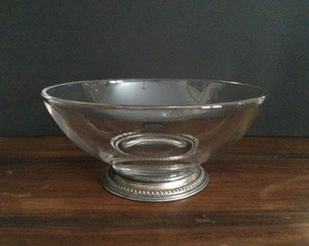 Vintage Glass Bowl With Sterling Silver Base
