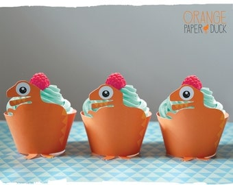 5 DINOSAUR Party Cupcake Wrappers Orange