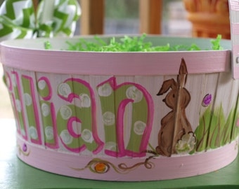 Hand painted Easter Basket in Pink