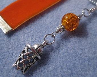 Orange Velvet Ribbon Bookmark w/Basketball Hoop Charm