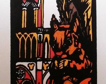 Squirrel Linocut Art Print (4x6 inches)