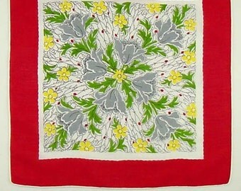 Vintage Gray Poppies and Red Border Hanky Handkerchief with Hand Rolled and Stitched Hem (Inventory #M3345)