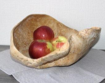 Large Birch Burl Bowl, Vintage Handcrafted Wood Decor, Large Wood Bowl, Fruit Bowl @96