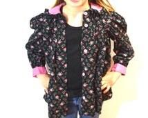 Vintage Girls Floral Coat . Black Jacket Tiny Pink Rosettes . Pink Peter Pan Collar . Kids Coat Childrens Jacket  5T 6X