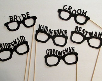 Photo Booth Props Bride and Groom Glasses 6 pc Wedding Photo Props Bridal Party Favors Bridal Party Photo Booth Prop Glasses