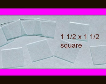 """10 Pack 1-1/2 x 1-1/2""""  Clear Glass Squares"""