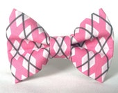 Dog Bow Tie, Dog Bow, Pink Argyle (Pink, White, Gray), Removable Dog Style Accessory for Pet Collar