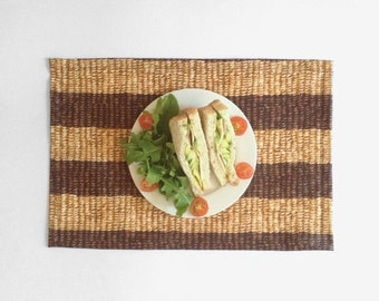 Brown Stripes Woven Look Placemat, Laminated Cotton, Water resistant Table Mat, Wipeable placemat