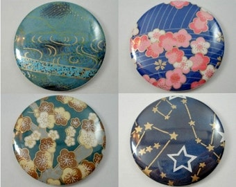 Japanese Chiyogami Paper Pocket Mirror - Choose One! - Blue Collection - Sakura Flowers - Stars & Constellations - Hand Mirrors