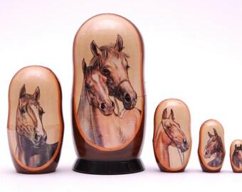 Horses, horse stacking dolls matryoshka nesting babushka dolls set  of  5 pc Free Shipping plus free gift!