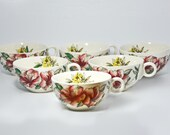 Set of Six Johnson Brothers Azalea Tea Cups 1950's England Tea Party Flower