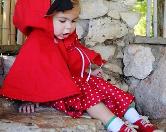 Toddler & Little Girls Dot or Gingham Little Red Riding Hood Cape and Skirt set-  Halloween, Costume, Outerwear, Photo  prop.