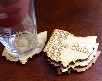 Ohio State Buckeye Leaf Coasters