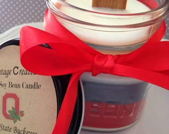 Ohio State Soy Candle with Wood Wick~ 8 oz All Natural Layered Soy Candle~ Graduation Gifts~ Ohio State Gifts~Football Gifts~Ohio Gifts