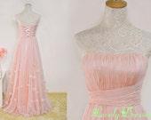 Flora A-line Pink  Strapless Neckline Floor Length Appliques Prom Dress