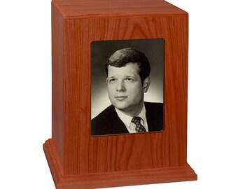 Cherry Vertical Photo Wood Cremation Urn