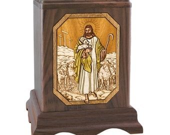 Walnut Lord Is My Shepherd Wood Cremation Urn