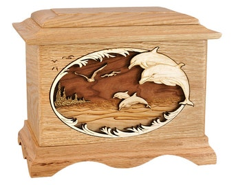 Oak Dolphins Ambassador Wood Cremation Urn