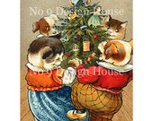 Printable Christmas Vintage Dogs and Cats, Digital Download, Digital Christmas Gift Tags, Christmas Cards, Vintage Digital, Scrap Booking