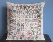Cross Stitched Quilt Patches Pillow