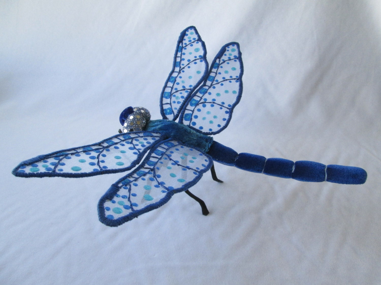 Dark blue velvet dragonfly wall art decor 13 for Dragonfly wall art