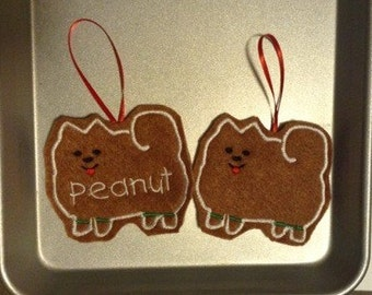 Pomeranian Personalized Felt Gingerbread or Angel Ornament