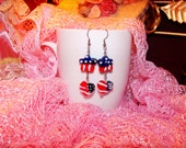 Victorian Style Earrings 'Land That I Love' USA Patriotic Lampwork Glass Beads Heart and Star with US Flag Design