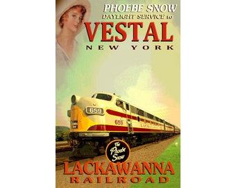 "VESTAL New York Erie Lackawanna Railroad PHOEBE SNOW Train -Original New Retro Poster -in 3 sizes up to 24x36"" - Art Print 060"