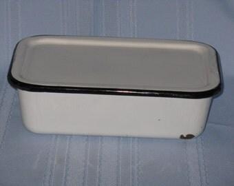 Vintage enamelware refrigerator dish with lid white black metal