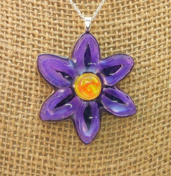 Resin  flower pendant - handpainted purple, white, yellow and orange 3D flower  - Multi-layer acrylic painting