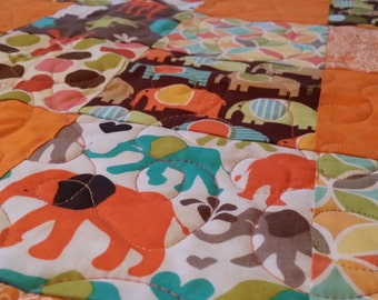 Baby quilt, modern baby quilt, elephant quilt, giraffe quilt, baby girl quilt, baby boy quilt, orange quilt, new baby quilt baby shower gift