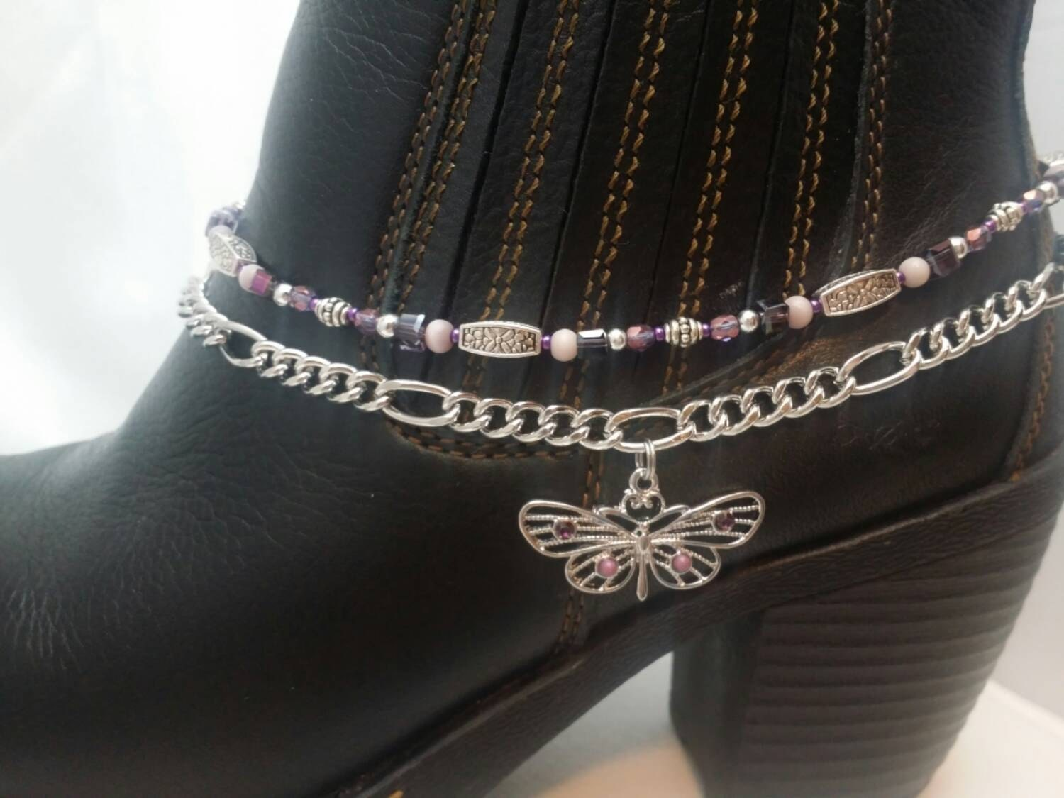 boot bling anklet bracelet jewelry figaro by steffiessparkles