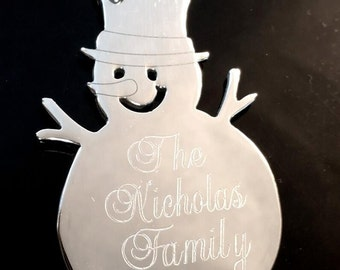 Personalized Snowman Christmas Tree Ornament, Custom engraved