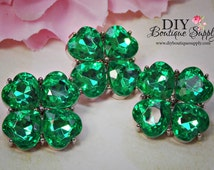 St. Patrick's Day Green Crystal Buttons Embellishments St Paddy's Day Green Rhinestone Buttons flower centers - Scrapbooking  23 mm 833038