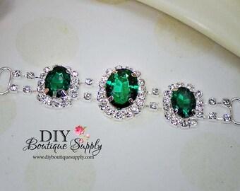 Emerald Green Crystal Rhinestone headband Connectors Bikini Connectors Crystal connectors Wedding Bridal Accessories 95mm 779045
