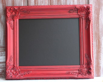 Red Framed Chalkboard, Farmhouse Style Kitchen Wall Decor, Red Decor, Photography Prop, Wedding Sign Chalkboard Magnetic Blackboard 11x14