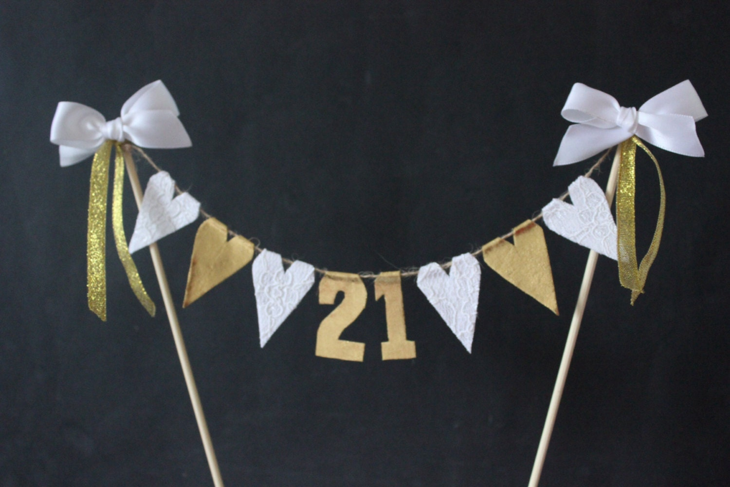 Cake Decorated With Bunting : 21st Birthday cake topper birthday cake bunting with white