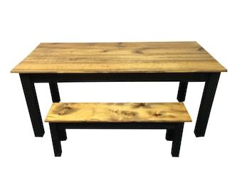 Rustic Barn wood & Black Farmhouse Table / Harvest Table / Reclaimed wood Table