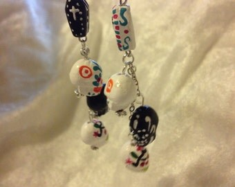 Dia de los Muertos Day of the Dead sugar skull earrings
