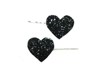 Love heart hair accessory, Love hearts, Heart hair clips, heart bobby pins, glitter hearts, glitter heart bobby pins, kawaii bobby pins