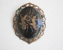 Vintage Amfarco Siam Brass Pendant / Siam Jewelry / Thai Jewelry / 1930s / Brass Jewelry / Vintage Brooch / Antique Jewelry