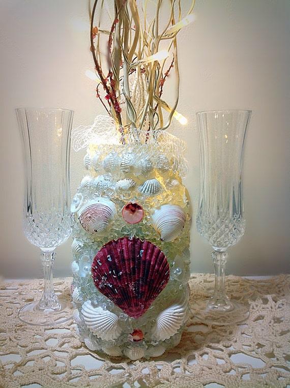 Sea glass centerpiece shell beach wedding decor