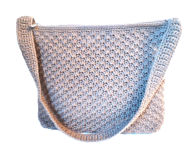 The Sak Taupe Crochet Handbag Vintage Purse by EraAntiquesandFinds
