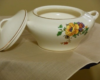 Vintage Gold Medal St. Louis Owen China Sugar Bowl