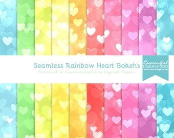 50% OFF Seamless Rainbow Heart Bokeh Digital Paper Set - Personal & Commercial Use