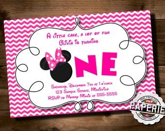 Pink Chevron MINNIE MOUSE Birthday Invitation, Minnie Mouse Party Ideas, Minnie Invitation, Pink Frosting Paperie
