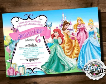 DISNEY PRINCESS BIRTHDAY Invitation, Princess Party Ideas, Disney Princess Invitation, Printable Invitation, Pink Frosting Paperie